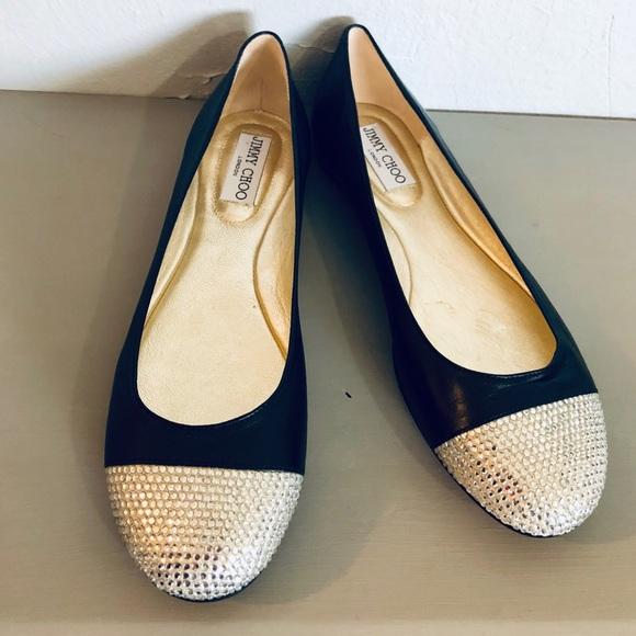 2ec662335978 Jimmy Choo Shoes - Jimmy Choo Black Wrena crystal ballet flats nwot